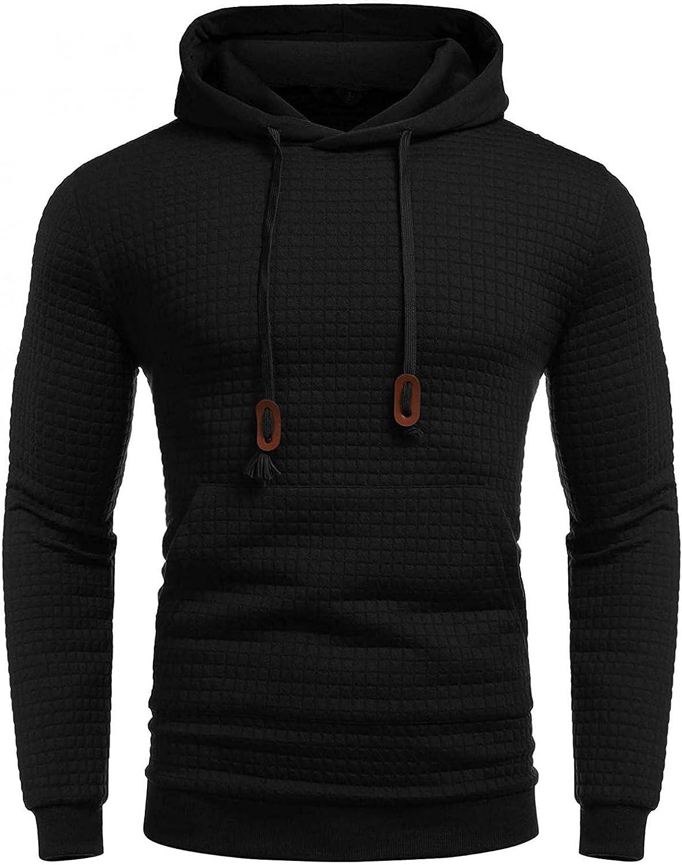 Men's Hooded Sweatshirts Solid Plaid Jacquard Drawstring Hoodies Pullover Tops Casual Fashion Designer Shirts Blouse
