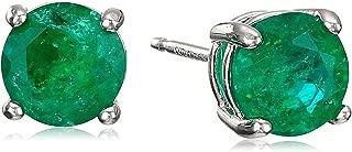 Sterling Silver Genuine or Created Round Cut Birthstone Stud Earrings