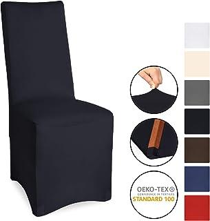 Beautissu Bankett-Stuhlhusse Leona - 45x90 cm Stretch-Stuhlbezug - Elegante Bi-Elastic Husse - ÖKO-TEX - schwarz