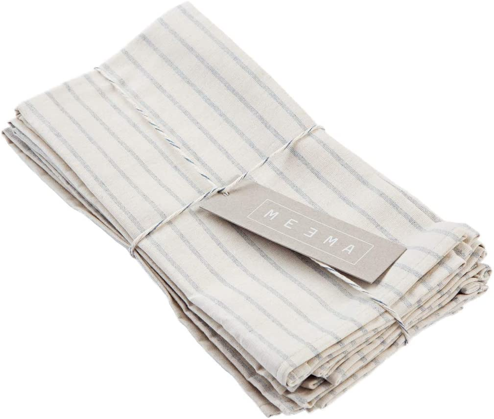 Cotton Farmhouse Table Style MEEMA Cotton Napkins Fabric Set of 4 Everyday Cloth Dinner Napkins Natural Napkins Eco Friendly Napkins Made with Upcycled Denim and Cotton