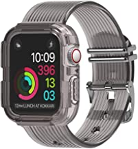 moencase Band Compatible with Apple Watch Band 38mm 40mm 42mm 44mm with Case, Clear Soft TPU Band for Apple Watch Series 1/2/3/4/5(42mm/44mm Gray)