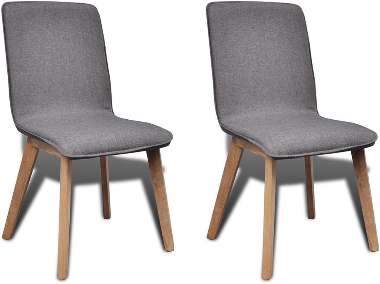 VidaXL 2X Oak Dining Chair Dark Grey Fabric 48cm Foam Dining Room Furniture