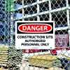 NMC D247RB DANGER - CONSTRUCTION SITE AUTHORIZED PERSONNEL ONLY Sign - 14 in. x 10in. Rigid Plastic Danger Sign, Black/White Text on White/Red Base #2