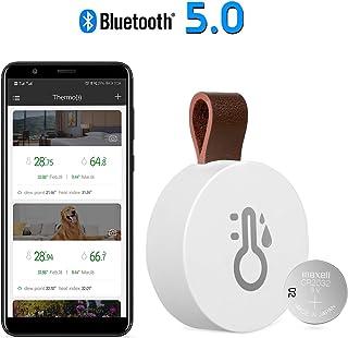 【2020 New】Esolom Termómetro Higrómetro Inalámbrico Bluetooth y Sensor Digital con Baliza y Registrador de Datos, Monitoreo Remoto de Temperatura,Humedad del Aire yPunto de Rocío para iOS y Android