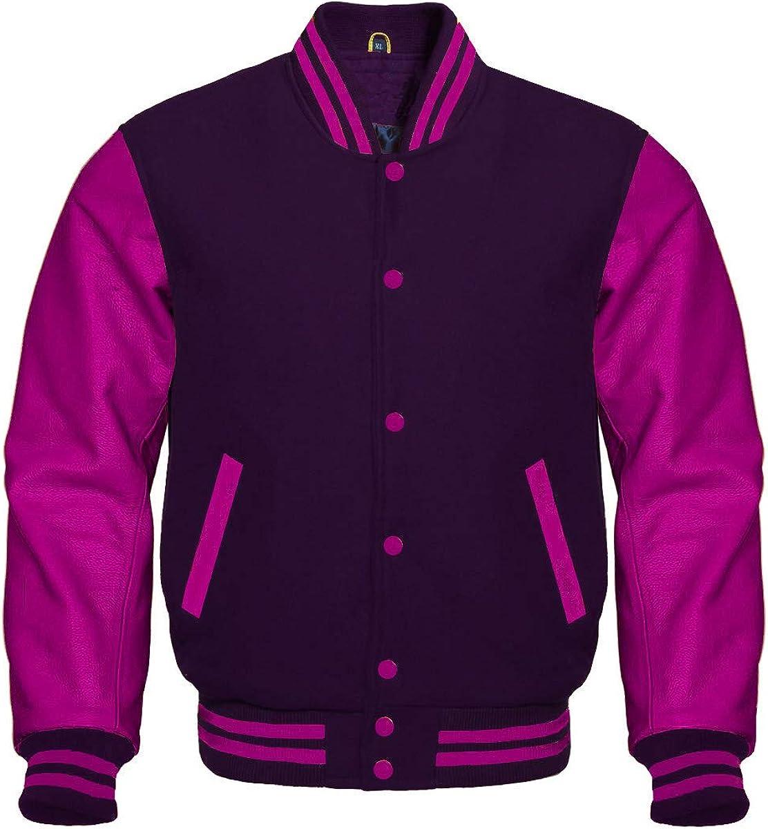 Varsity Jacket Bomber Letterman Baseball Purple Wool & Hot Pink Leather Sleeves
