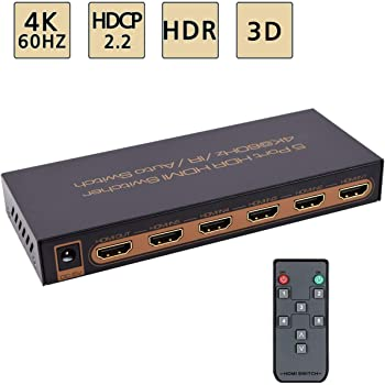 4K@60Hz HDMI Switch 5x1 Awakelion Premium 5 in 1 Out 4K HDMI Switch with IR Remote Support Auto-Switch, HDCP 2.2,UHD,HDR,Full HD,3D,1080P