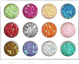 Minejin Nail Art Glitter Sequins Five Star 3D DIY Manicure Decals Decoration 12 Colors