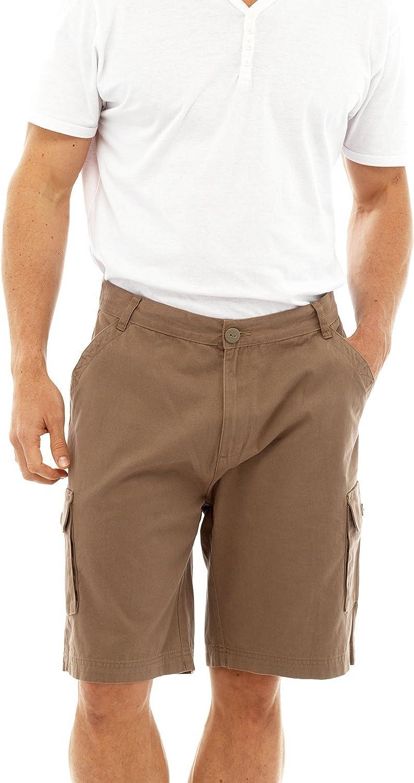 Tom Franks Men's Plain Cotton Cargo Shorts X-Large / 36-38 Waist Brown