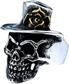 Stainless Steel Skull Gold Rose Flower Hat Ring Biker Jewelry Accessories Men Women
