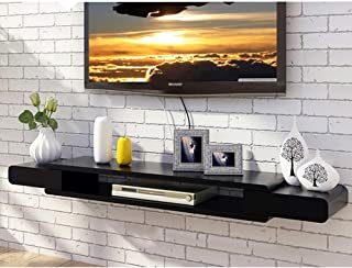 Tv Shelf Wall Mounted, 2 Tier Media Console Floating Shelves Hanging Tv Cabinet for Cable Boxes Routers Remotes DVD Players