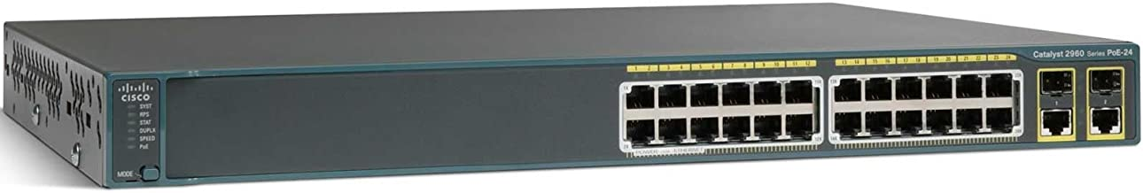 Cisco WS-C2960-24PC-S - Switch de red de 24 puertos (L2, gestionado, 10/100/1000 Mbps, 1 Gbit/s, 10/100 PoE + 2T /SFP LAN)