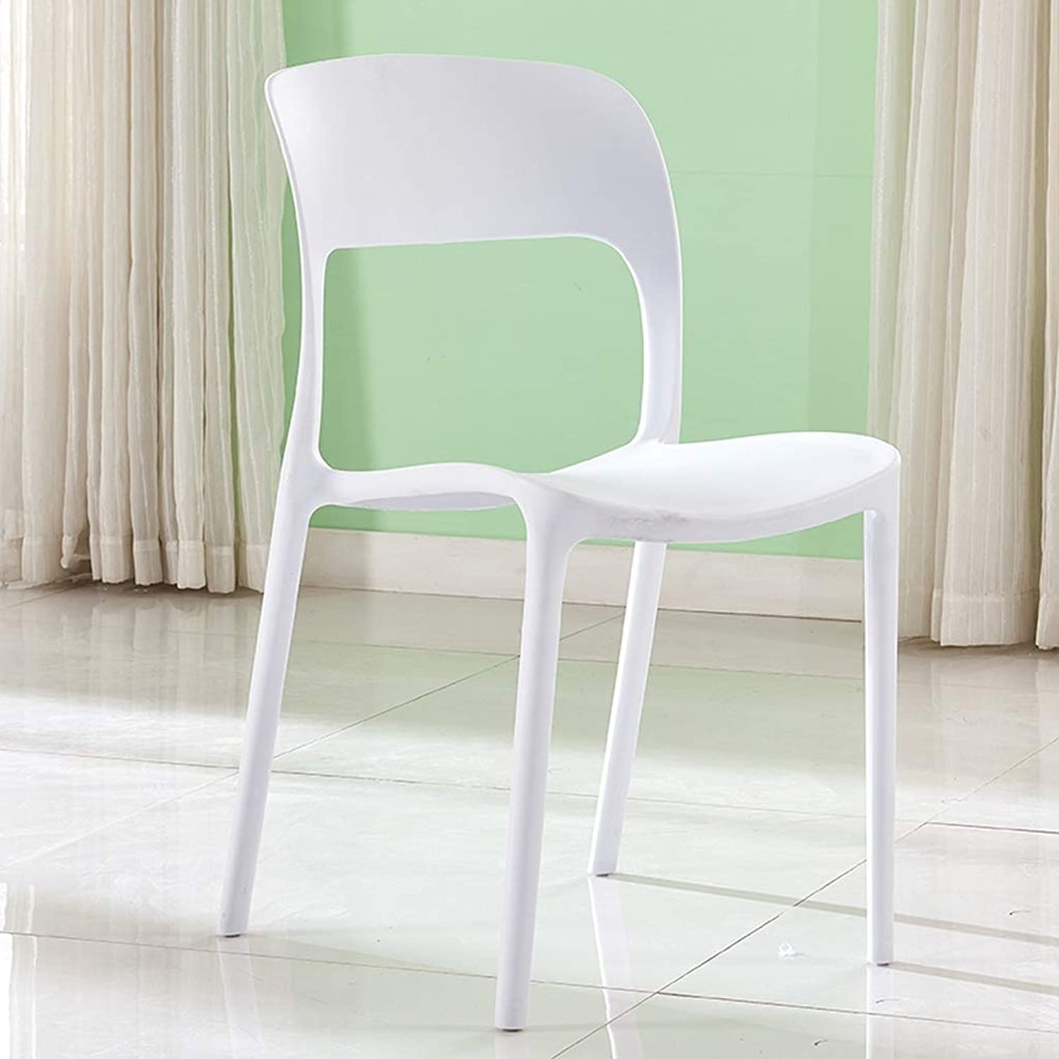 ASJHK Chair Modern Minimalist Thick Plastic Chair Adult Chair Home Dining Table and Chair Five colors Chair (color   White)