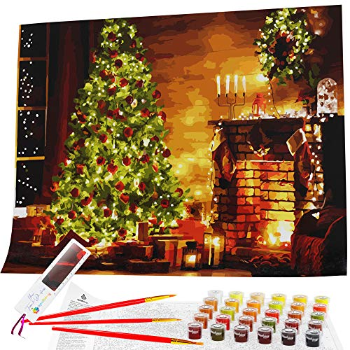 """Paint by Numbers for Adults, Beginner to Advanced, Rolled Canvas Kit, 16x20"""" Acrylic DIY Painting by Numbers for Adults, Christmas Scene, Holiday Tree and Hearth by Opalberry"""