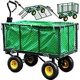 Gartenwagen Herausnehmbare Plane Bollerwagen Klappbare Seitenwände Transportwagen bis 550kg Belastbar Handwagen Typ XL