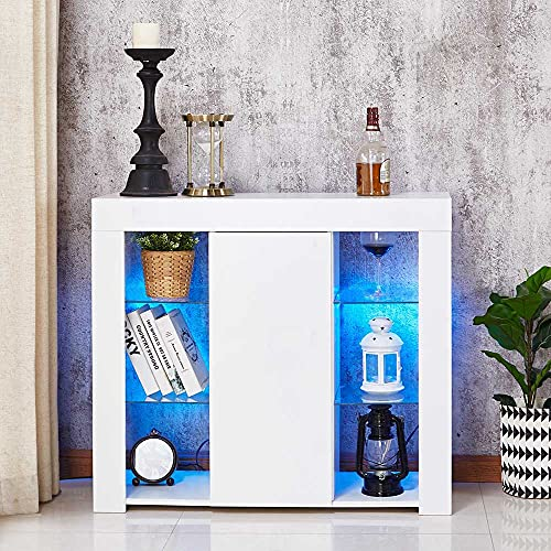 Sideboard Cabinet, CAMORSA 95 CM Modern Cabinet LED Lights, High Gloss Display Cabinet with 1 Door for Dining Room Kitchen Office White