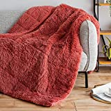 Sivio Luxury Shaggy Longfur Weighted Blanket 20lbs, Snuggly Fuzzy Faux Fur Heavy Warm Elegant Plush Sherpa Microfiber Blanket, for Couch Bed Chair Photo Props - 60'x80', Dusty Pink