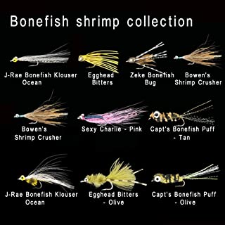 Riverruns Assortment 10 The Most Effective Bonefish & Shrimp Patterns Collection, Bitters, Sexy Charlie, Bonefish, Bowen's Shrimp Crusher,Capt's Bonefish Puff SaltwaterPlus A Fly Box