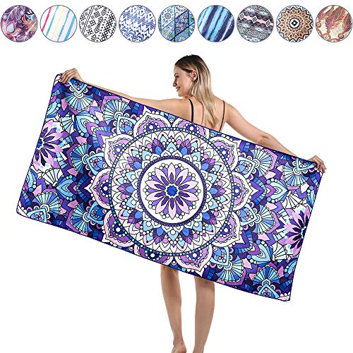 Agetp Microfiber Rectangle Beach Towel Blanket - Sand Free Pool Towels Quick Dry Super Absorbent Lightweight Oversized Large Towels for Travel Swimming Bath Yoga Gym Camping (Wind Chimes,L)