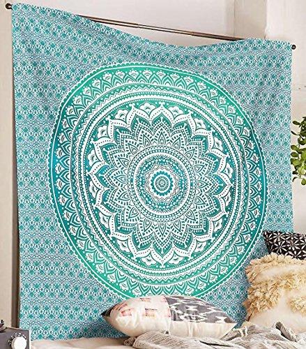 Bless International - Tapisserie hippie motif mandala ombre traditionnel indien en coton à mettre au mur ou à utiliser comme couvre-lit bohème, Tissu, Green, Queen(84x90 Inches)(215x230 Cm)