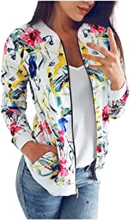 Womens Bomber Jacket Retro Floral Zipper Cardigans Casual Long Sleeve Coat Outwear E-Scenery