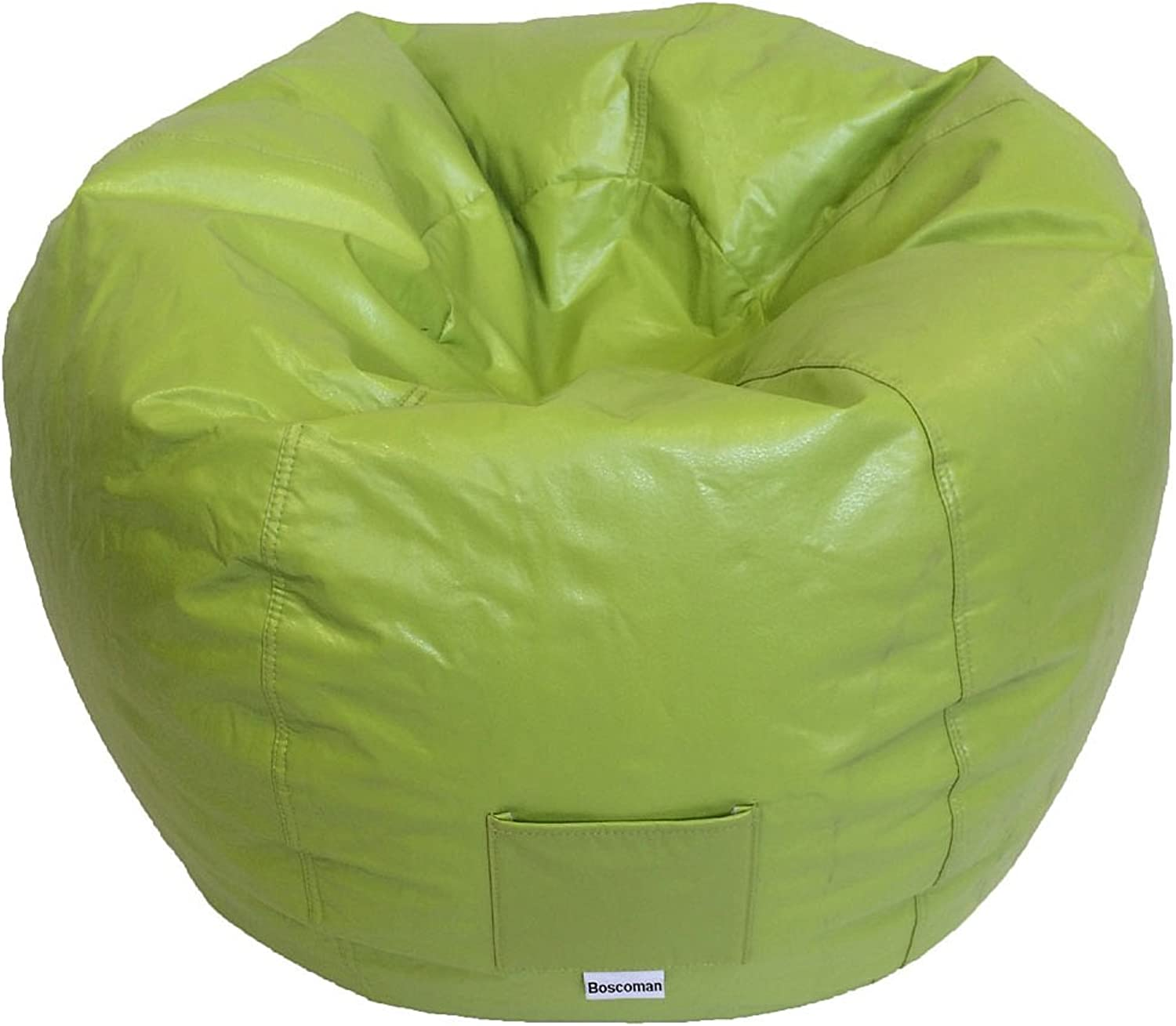 Boscoman - Adult Round Vinyl With Pocket Beanbag Chair - Bud Green (BOX M)