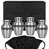 Grace and Mercy Pewter Small Keepsake Urn for Human Ashes - Set of 4 - Beautiful Humble and Comforting Quality Sharing Urns for Your Loved Ones Remains - with Case and 4 Pouches