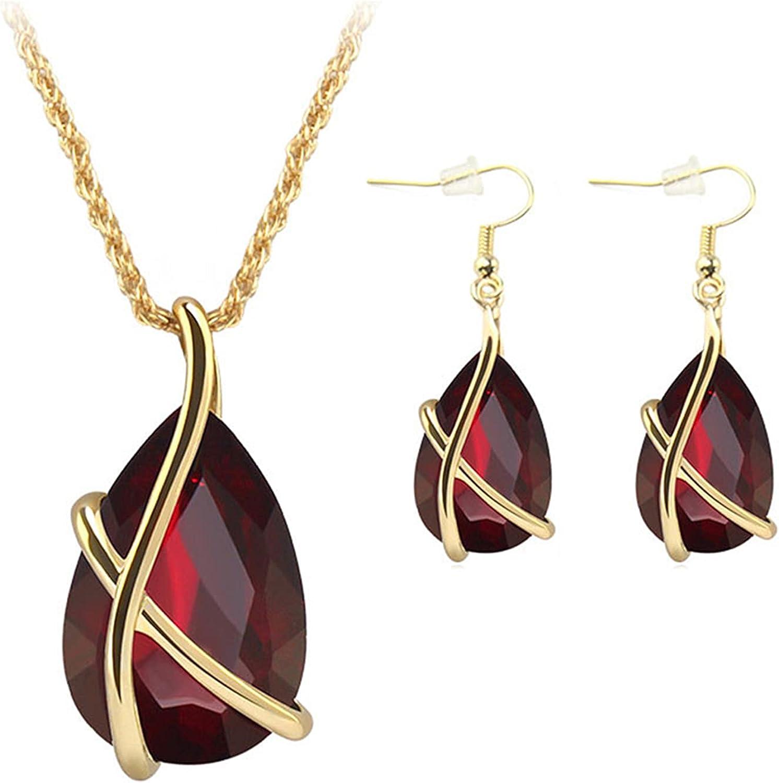 coadipress Rhinestone Teardrop Crystal Pendant Necklace Earrings Elegant Waterdrop Angle Tear Crystal from Austria Jewelry Sets Jewelry for Women