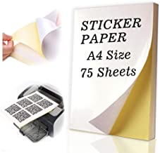 75 Sheets Sticker Paper A4 Size Glossy Shipping Label Paper Full Sheet with Self Adhesive for Inkjet and Laser Printers by Happlee