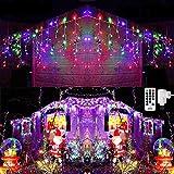 Qedertek 432 LED Cascata Luci da Esterno, 10M Tenda Luminosa Colorate, Luci Nataliazie da Esterno con Telecomando, Tenda led con 8 modalità, Luci Decorazione Natale per Feste, Finestra, Blacone