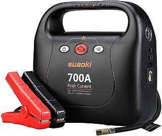 suaoki ジャンプスターター 大容量 最大電流700A エアコンプレッサー搭載 1035kpa エンジンスターター 安全保護機能 LED緊急ライト モバイルバッテリー スマホ タブレットなどへ緊急充電 12ヶ月保証 日本語取扱説明書