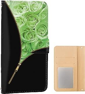 Xperia Z5 Premium (SO-03H) PU手帳型 ミラータイプ [ローズ・グリーン] 花柄 薔薇 チャック エクスペリア ゼットファイブ プレミアム スマホケース 携帯カバー [FFANY] zip-119@06m