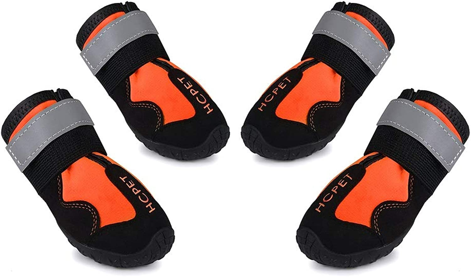 Waterproof Dog Boots Reflective Anti-Slip Pet Bootsorange 4 Pcs