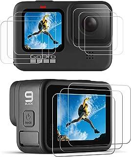 ivoler 9 stycken skärmskydd för GoPro Hero 10 Black/GoPro Hero 9 svart, 3 x pansarglas displayskydd, 3 x härdat glas linss...