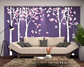 Fymural 5 Trees Wall Decals - Forest Mural Paper for Bedroom Kid Baby Nursery Vinyl Removable DIY Decals 103.9x70.9, White+Pink