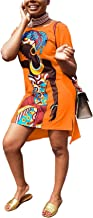 WJANYHN Lente en Zomer Mode Meisje Multicolor Printing Casual Split Front Korte Terug Lange Jurk