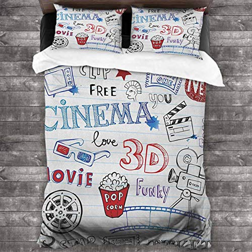 CRICKOOM Printed Polyester Movie Theater,Various Hand Drawn Icons on a Notebook Page Style Backdrop Hollywood Fun, Multicolor 78x78 inch Children Sleeping Mats