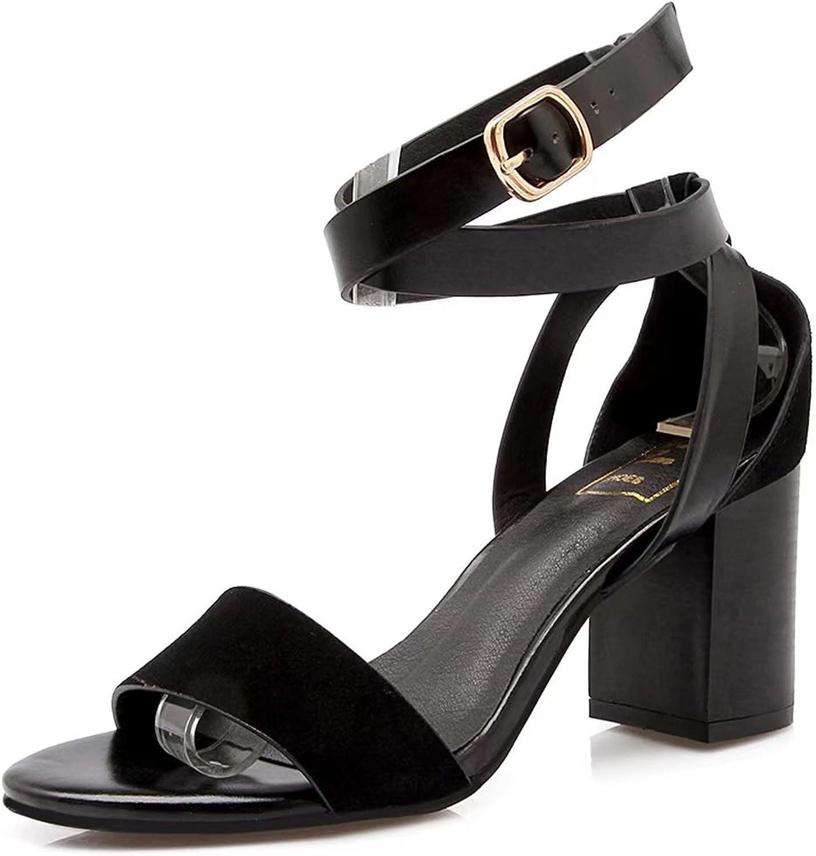DoraTasia Women's Fashion Ankle Buckle Strap Single Brand Chunky Heel Sandals