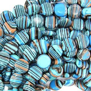 buyallstore 14mm Blue Rainbow calsilica Coin Beads 15.5