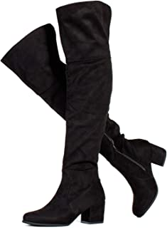 Women's Block Heel Pullon Over The Knee Boots