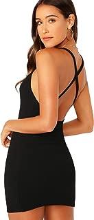 Women's Criss Cross Backless Off Shoulder Rib-Knit Cami Bodycon Dress