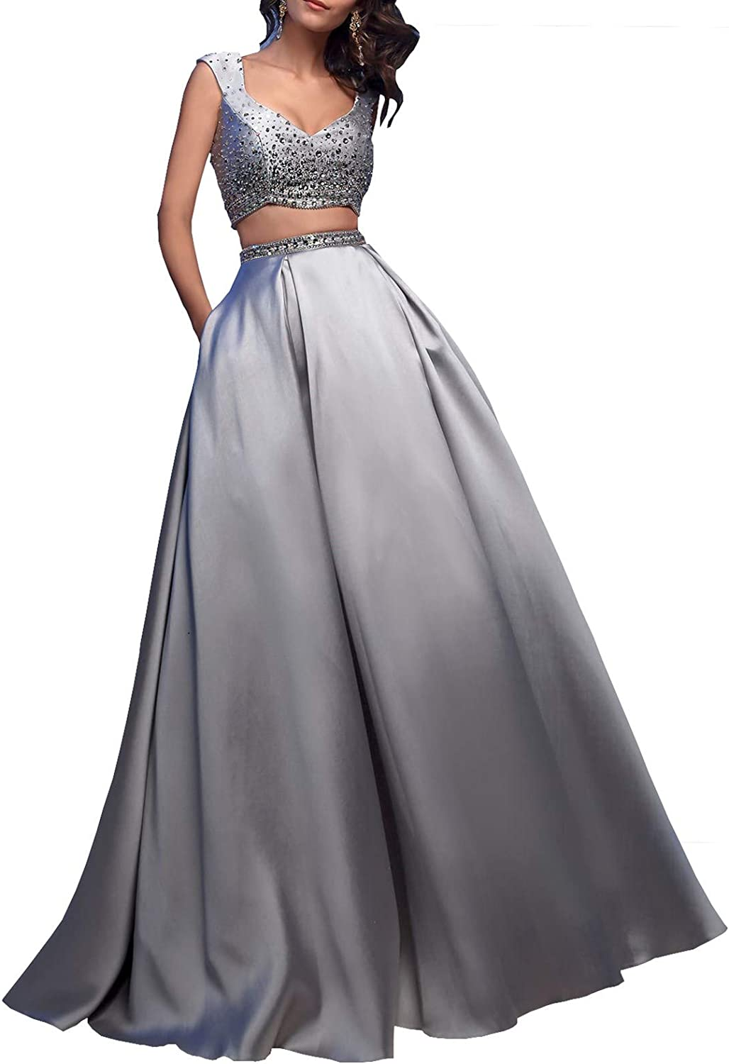 Topquality2016 Women's Two Piece Beading Bodice Prom Dress Formal Evening Gown