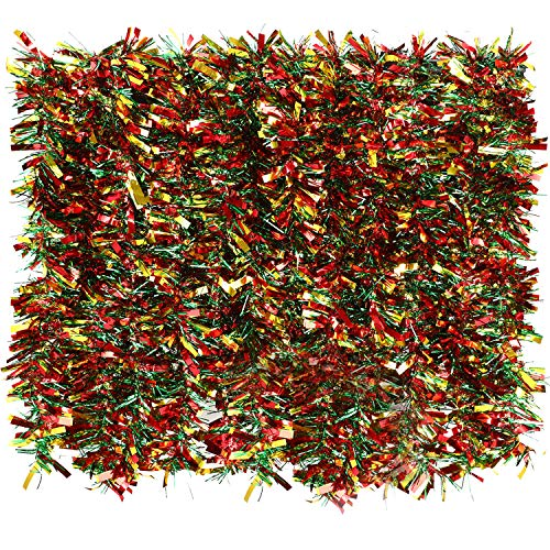 BBTO 6 Pezzi Ghirlanda di Natale Tinsel Colore Misto Albero di Natale Orpelli Orpello Ghirlanda di Natale per Decorzione di Abero Natale (Misti Rosso, Verde e Oro)