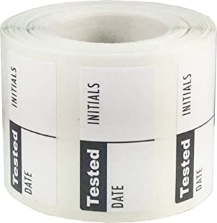 White and Black Tested Labels, 3/4 x 1 1/2 Inch in Size, 500 Adhesive Stickers on a Roll