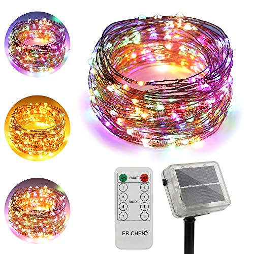 ErChen Dual-Color Solar Powered LED String Lights, 100FT 300 LEDs Remote Control Color Changing 8 Modes Copper Wire Decorative Fairy Lights for Outdoor Garden Patio (Warm White, Multicolor)