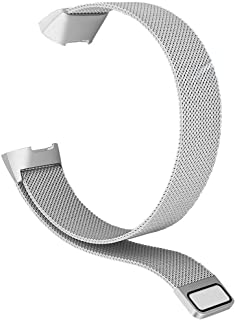 ACUTAS® Stainless Steel Magnetic Metal Wristbands with Magnet Lock for Fitbit Charge 3/Charge 4/Charge 3 SE (Size:Large) (...