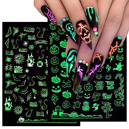 Halloween Nail Stickers 3D Luminous Halloween Nails Self Adhesive Nail Sticker Nail Art Supplies Decals Halloween Nail Art Designs Halloween Skull Ghost Pumpkin Spider Bat Nail Art Decoration 6Sheets