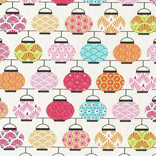 Textiles français Tela de algodón Estampada - Linternas Japonesas - Rosa, Naranja, Verde y Azul sobre un Fondo Blanco Crema - 100% algodón Suave | Ancho: 160 cm (por Metro Lineal)*