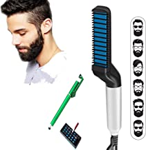 HoneyDell Men Beard Straightener Hair Comb Multi functional Hair Curler Clipper Show Cap Tool With mobile Touch Pen