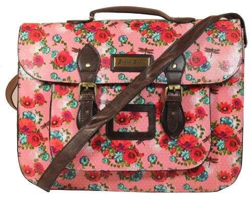 Hayley Rose Dragonfly Top Handle Satchel Bag in Pink