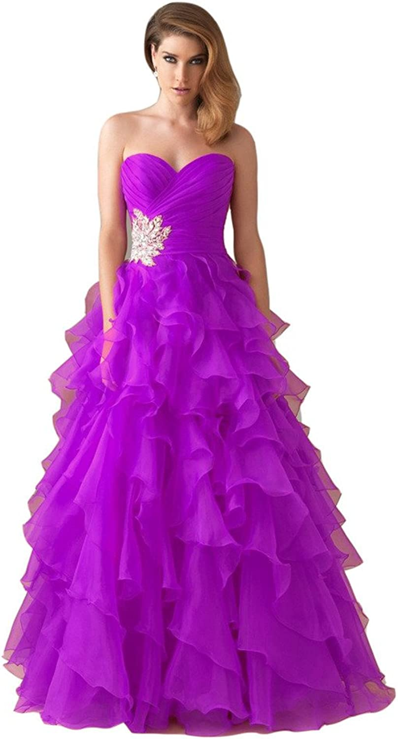 Emmani Women's Sweetheart Beading Tiered Prom Dresses Quinceanera Dresses